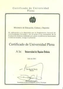 Certificado Universidad Plena